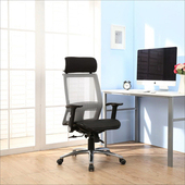 《BuyJM》現代風全網鋁合金腳高背辦公椅(灰色)