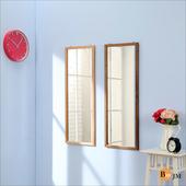 《BuyJM》禪意全橡木壁鏡/掛鏡-高95公分(胡桃色)