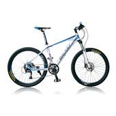 《BIKEDNA》XC50 雙油壓碟煞機械避震 26吋27速 登山車(白藍)