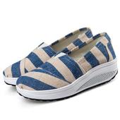 《Alice韓系館》【預購】時尚風格部落客穿帶條紋健走鞋(藍40)