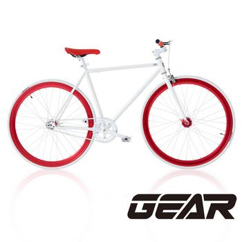 GEAR 街頭時尚Fixed Gear潮流單速車 GF5.0(白紅)