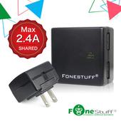 《FONESTUFF瘋金剛》FONESTUFF瘋金剛5V/2.4A雙USB方塊插座充電器(黑色)