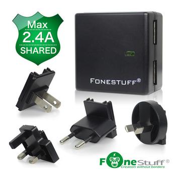 FONESTUFF 5V/2.4A雙USB可拆式萬國插座充電器旅行組(黑色)