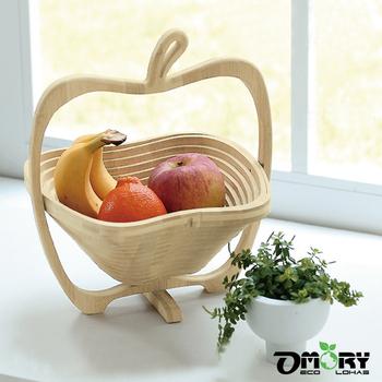 OMORY 蘋果造型竹製可折疊小物/收納/水果籃