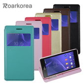 《Roarkorea》Sony Xperia T3 開窗隱磁站立皮套(黑色)