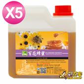 《彩花蜜》台灣嚴選-百花蜂蜜1200g(5入組)單筆消費滿1388即贈送台灣荔枝蜂蜜350g一瓶