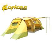 《CHANODUG》一房一廳三門四人雙層超強防風防雨露營帳
