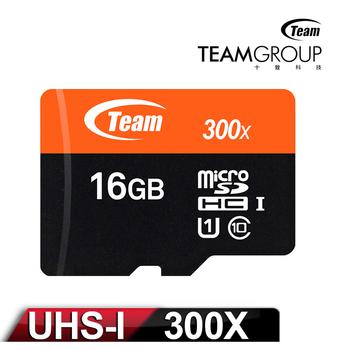 Team十銓科技 300X MicroSDHC 16GB UHS-I 高速記憶卡