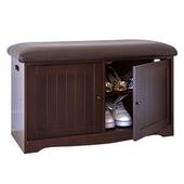 《Accessco》新古典防塵軟墊穿鞋椅櫃-三色(胡桃色)