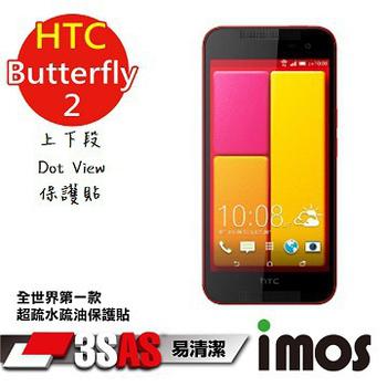 TWMSP iMOS 宏達電 HTC 蝴蝶 Butterfly2 上下段Dot View 精細孔洞 保護貼