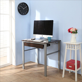 《BuyJM》低甲醛防潑水80公分單抽屜穩重型工作桌(胡桃色)
