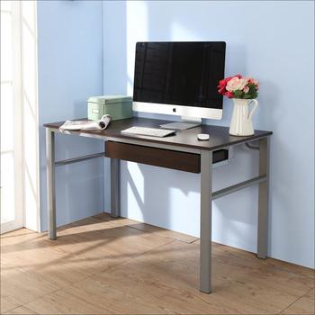 《BuyJM》低甲醛防潑水120公分單抽屜穩重型工作桌(胡桃色)