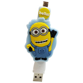 《小小兵》Micro USB 造型伸縮傳輸線-淺藍