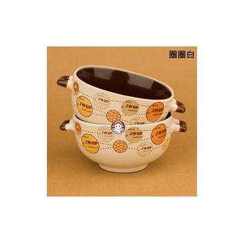 易奇寶 義式創意童趣陶瓷米飯碗二入裝 圈圈白(組)
