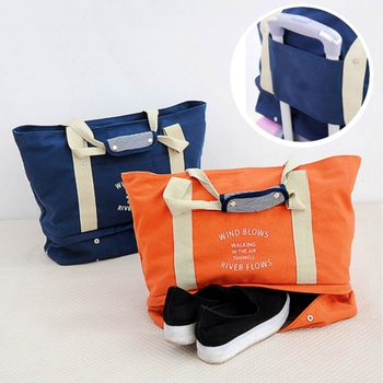 《Bunny》韓款多功能四合一旅行衣物鞋子收納包單肩包(橘色)