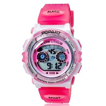 POPART 多功能冷光電子運動錶 pop-310(粉色果凍)