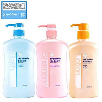 台塑生醫 Dr's Formula 嬰兒沐浴洗髮潤膚超值組(嬰幼童洗髮精*2+嬰兒沐浴精*2+嬰兒潤膚乳液*1)
