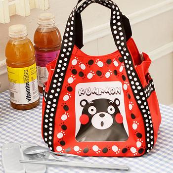 Kumamon熊本熊 腳印手提袋/便當袋+台灣製環保三件式餐具組(紅色)