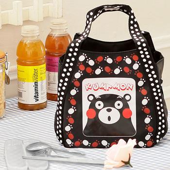 Kumamon熊本熊 腳印手提袋/便當袋+台灣製環保三件式餐具組(黑色)