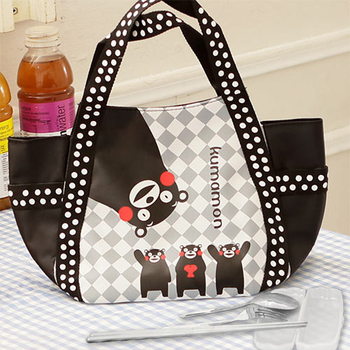 Kumamon熊本熊 菱格手提袋/便當袋+台灣製環保三件式餐具組(黑色)