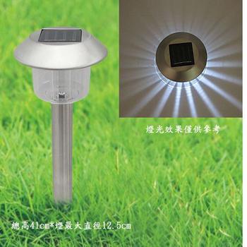《月陽》銀帽太陽能充電式自動光控LED庭園燈草坪燈插地燈超值2入(5004A2)