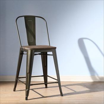 《BuyJM》TOLIX復刻版工業風榆木餐椅/洽談椅(黑色)