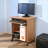 《BuyJM》簡約附輪電腦桌(寬60公分)(櫸木色)