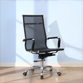 《BuyJM》黑爵士全網高背鋁合金腳PU輪辦公椅(黑色)