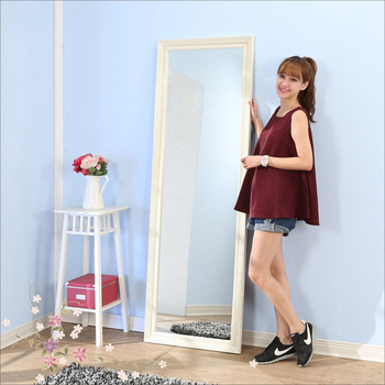 《BuyJM》巴黎情懷立體浮雕穿衣鏡/壁鏡(高180寬60公分)(米白色)