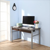 《BuyJM》低甲醛防潑水120公分雙抽屜穩重型工作桌(胡桃色)