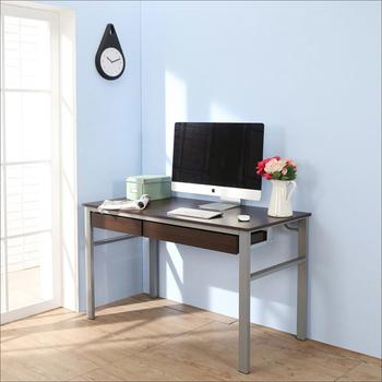 BuyJM 低甲醛防潑水120公分雙抽屜穩重型工作桌(胡桃色)