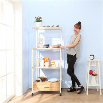BuyJM 多功能4層1抽附插座廚房電器架/微波爐架(淺木色)