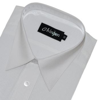 CHINJUN 長袖防皺襯衫(白底白條紋-15吋)
