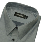 《CHINJUN》短袖防皺襯衫(灰底細斜紋-15吋)