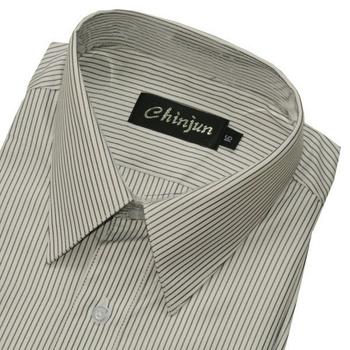 《CHINJUN》短袖防皺襯衫(白底黑線紋-15吋)