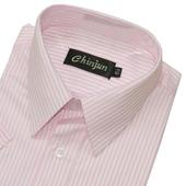 《CHINJUN》短袖防皺襯衫(淺粉底緹花紋-15吋)