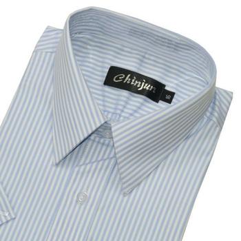 CHINJUN 短袖防皺襯衫(淺藍底緹花紋-16吋)