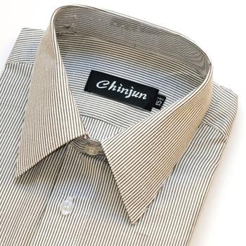 CHINJUN 短袖防皺襯衫(白底線條15吋)