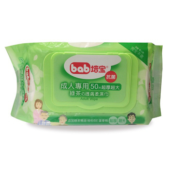 培寶 成人抗菌護膚柔濕巾50抽-綠茶