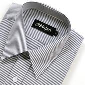 《CHINJUN》短袖防皺襯衫(黑白相間條紋-15吋)