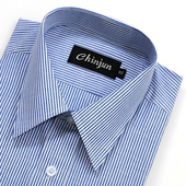 《CHINJUN》短袖防皺襯衫(藍白相間-15吋)