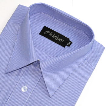 CHINJUN 短袖防皺襯衫(藍細條紋-15吋)