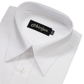 CHINJUN 短袖防皺襯衫(素色白-15吋)