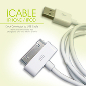 《FUNDIGITAL》iCABLE USB Apple 專用傳輸線(白色)