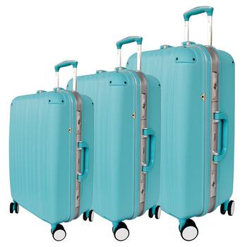 YC Eason 典雅輕量鋁框三件組ABS行李箱(典雅藍)