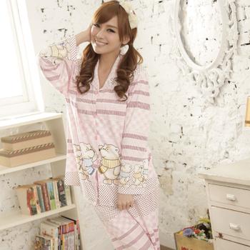 MFN蜜芬儂 熊熊家族長袖褲裝居家睡衣(粉色)