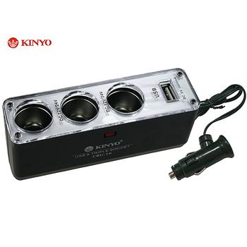 ★結帳現折★月陽 KINYO車用三孔+USB輸出孔擴充點煙器(CRU-16)