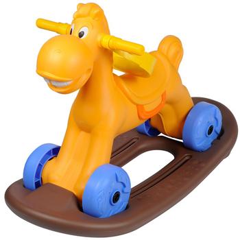 寶貝樂 可愛小馬學步車/助步車附搖搖板(橘色)