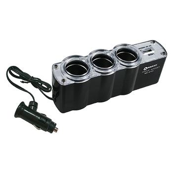 月陽 NAKAY黑色車用三孔+USB輸出孔擴充點煙器(NCU-13)
