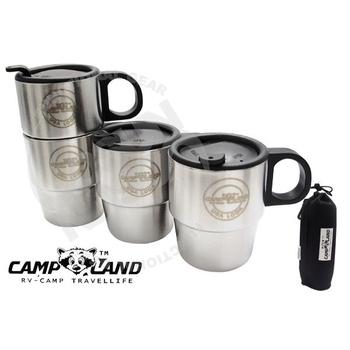 CAMP LAND 生活家 四入#304不鏽鋼組合式雙層斷熱咖啡杯組 RV-ST260